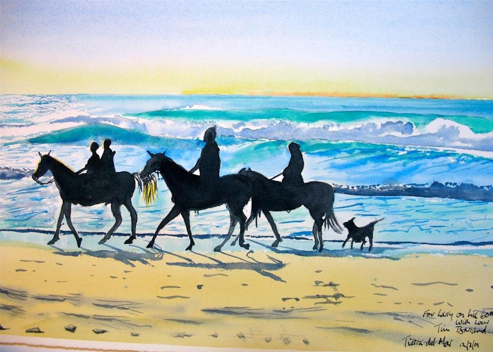 """Horses & Dog on Beach, Sunset"" original fine art by Tim Barraud"