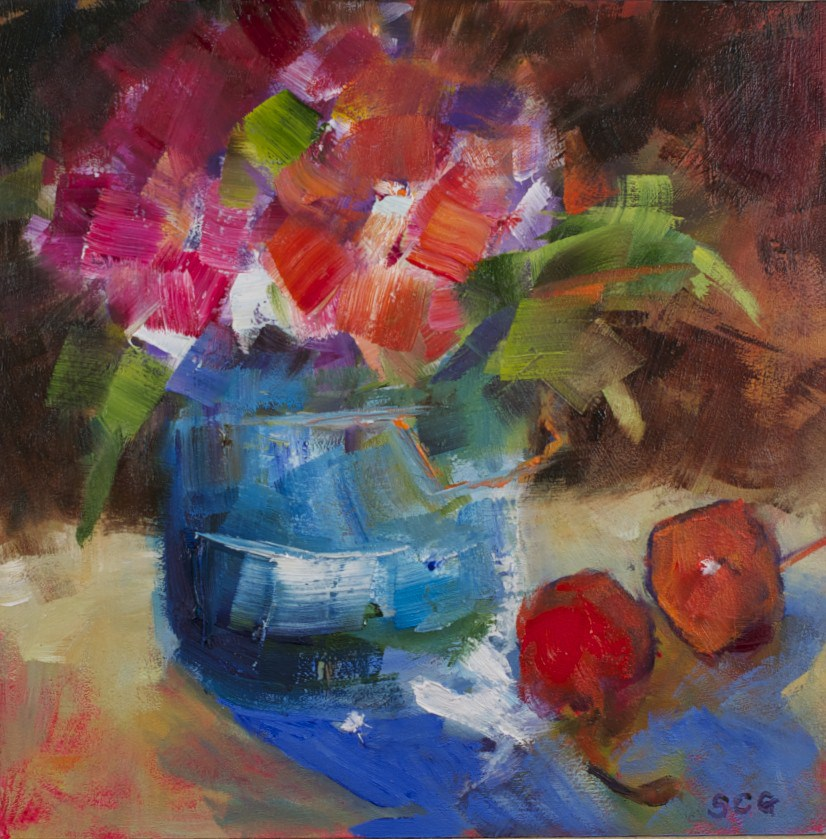 """Red Flower and Cherries"" original fine art by Sue Churchgrant"