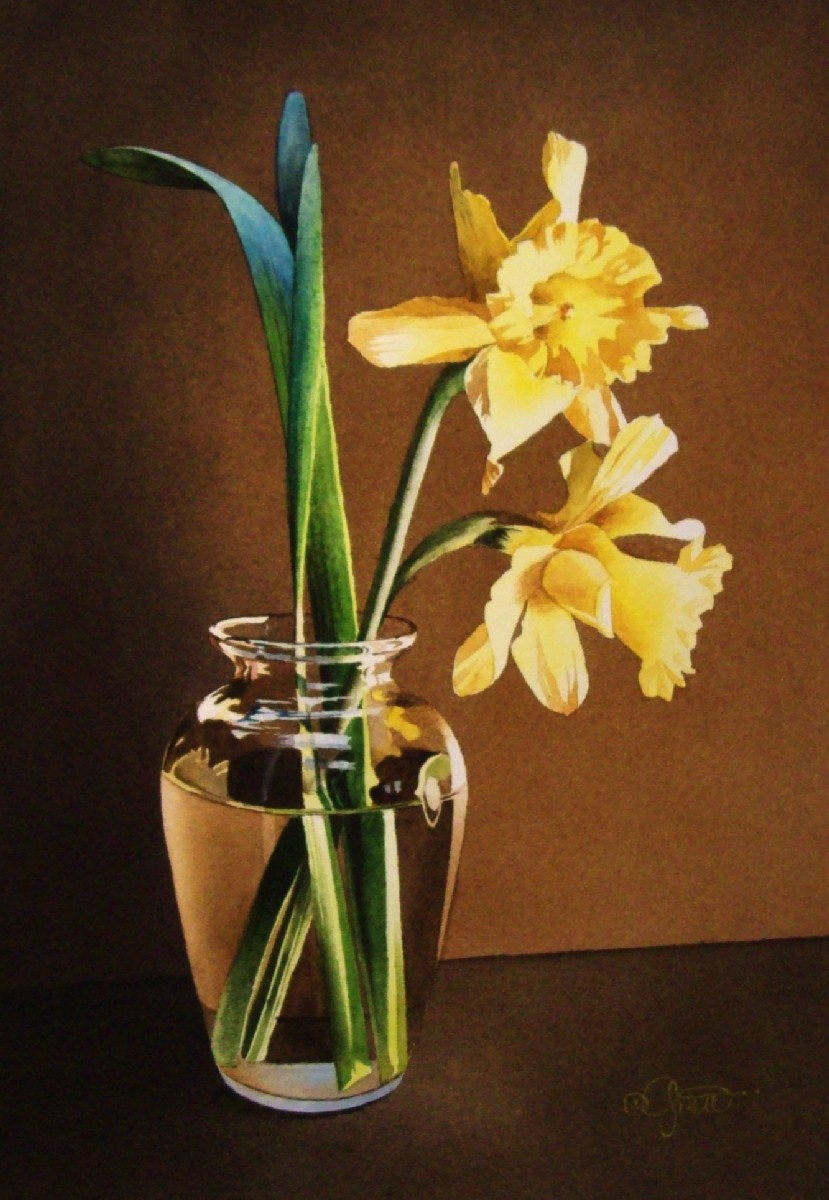 """Still Life with Daffodils"" original fine art by Jacqueline Gnott, whs"
