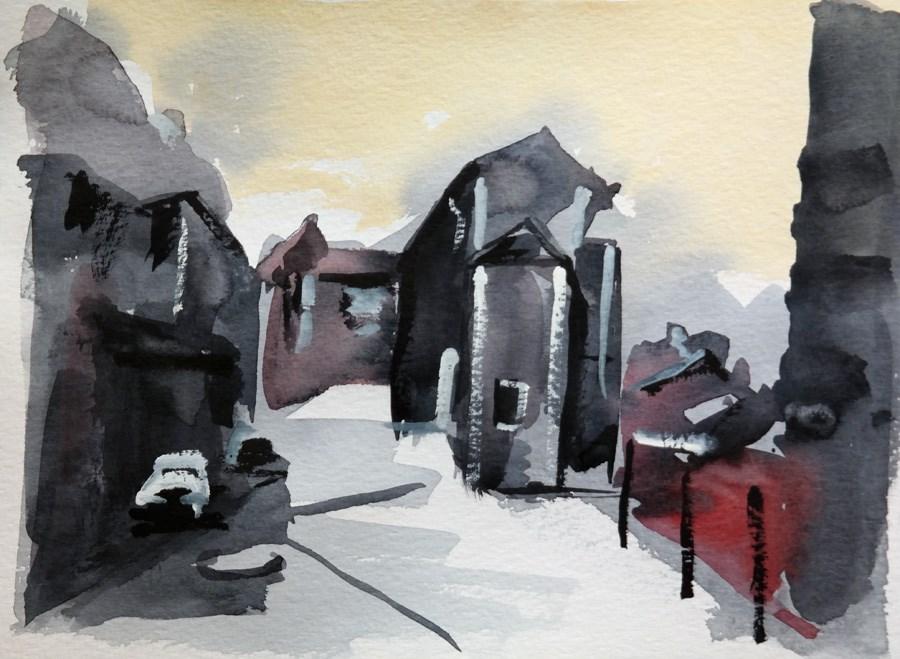 """""""1642 Le Village et le Chateau"""" original fine art by Dietmar Stiller"""