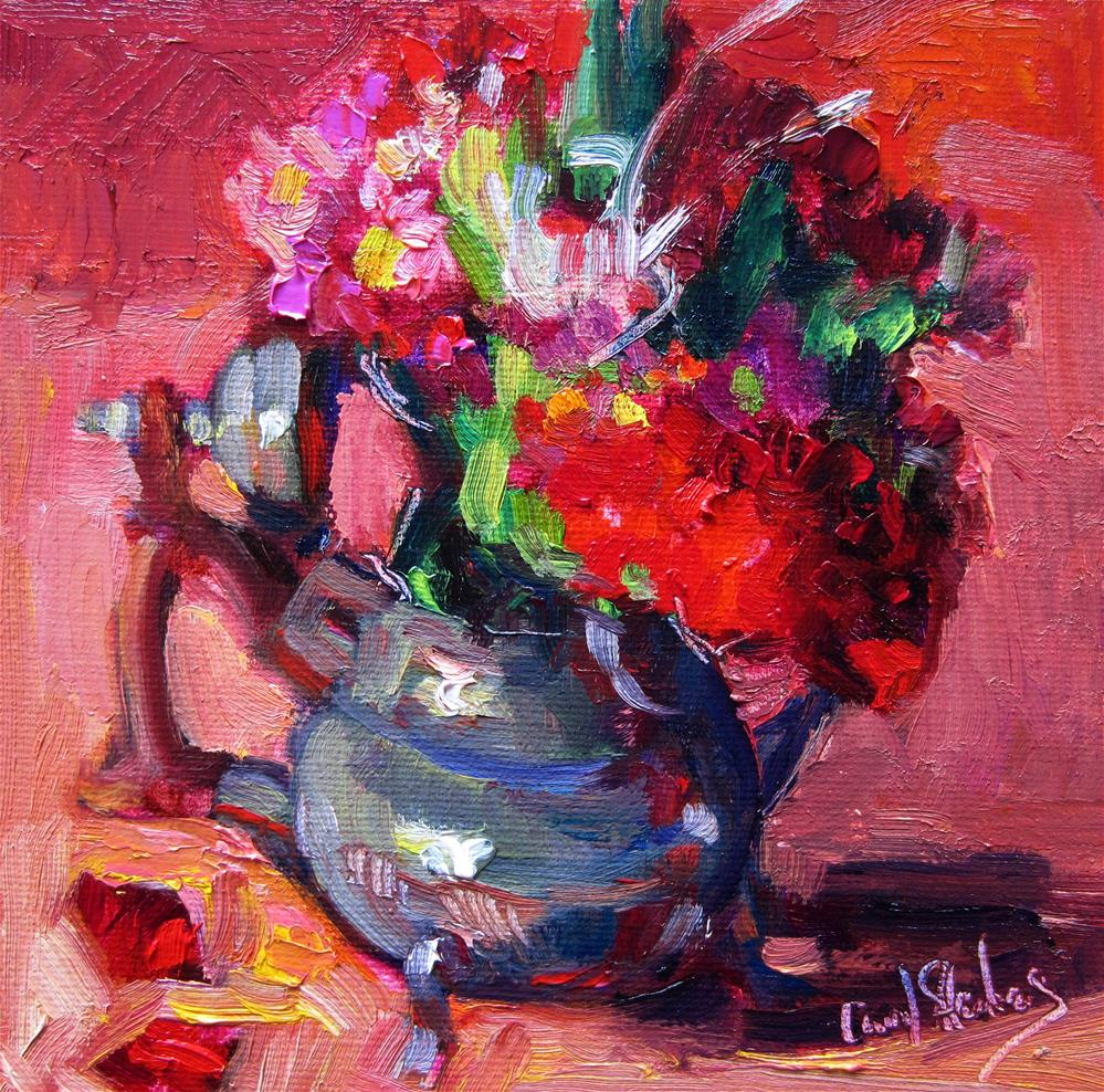 """Posey in Kettle, Peach"" original fine art by Carol Steinberg"