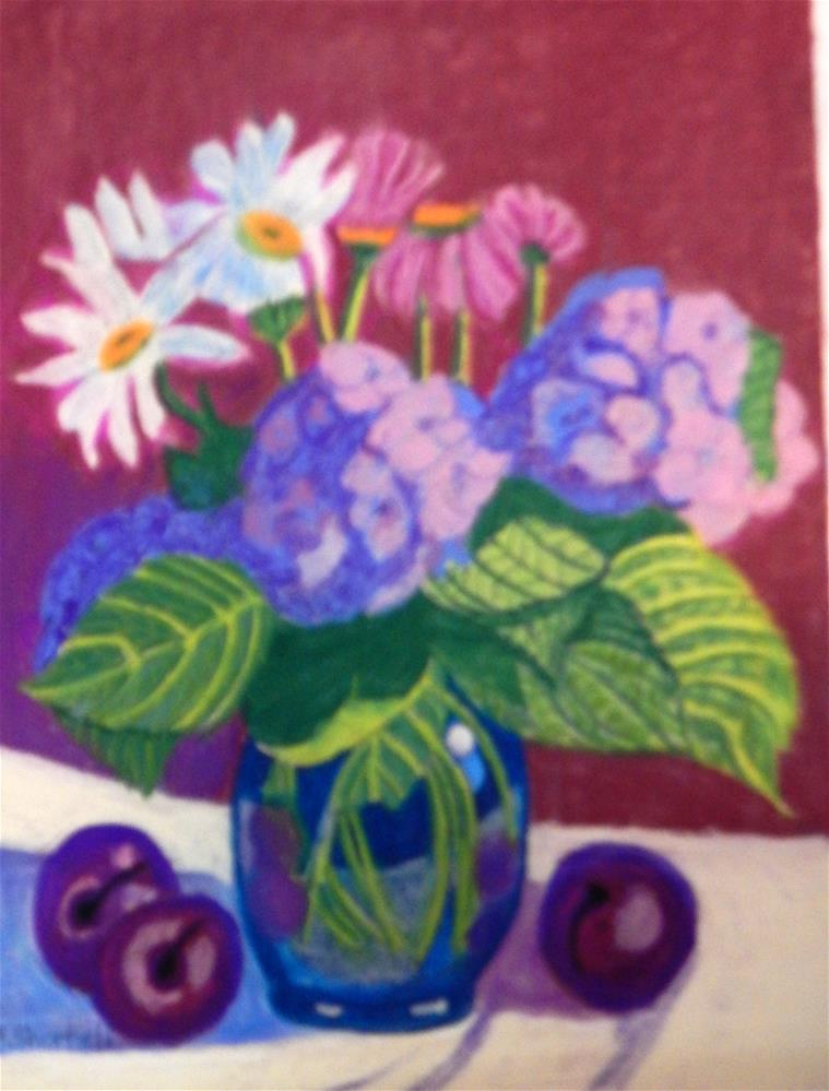 """Mixed Bouquet with Plums"" original fine art by Elaine Shortall"