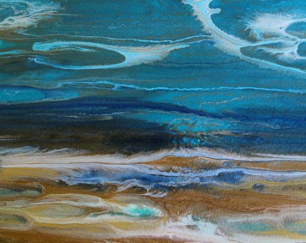 """Abstract Seascape,Coastal Living Decor,Beach Art Beautiful Storm -Study 5 by Colorado Contemporary"" original fine art by Kimberly Conrad"