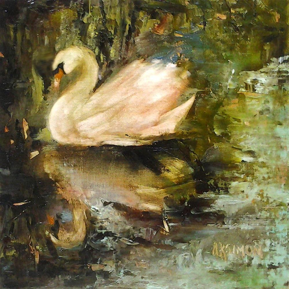 """Swan in Mourning"" original fine art by A.K. Simon"