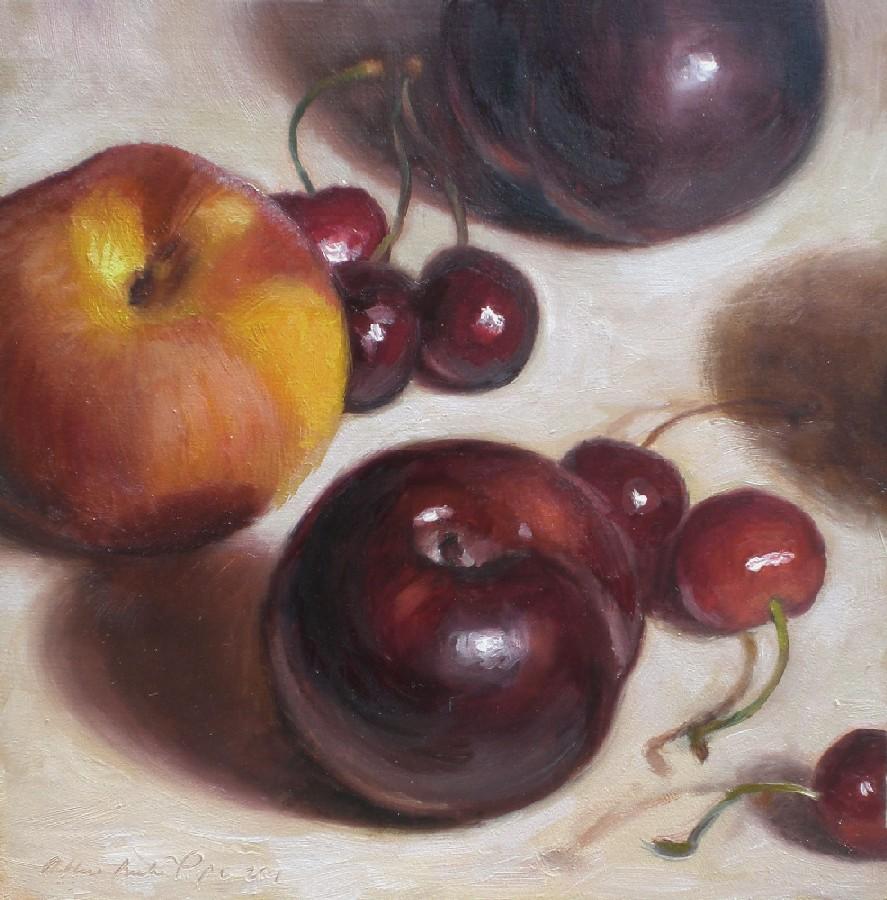 """Black Plums, Peach and Cherries"" original fine art by Debra Becks Cooper"