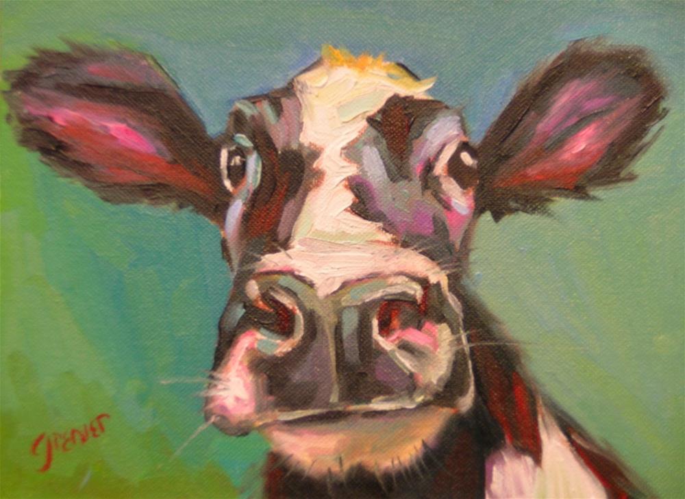 """Black Cow Original Oil Signed by Jean Grenier"" original fine art by jean grenier"