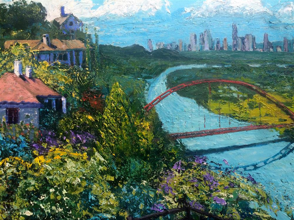"""Springtime Along Lake Austin"" original fine art by Darryl Freeman"
