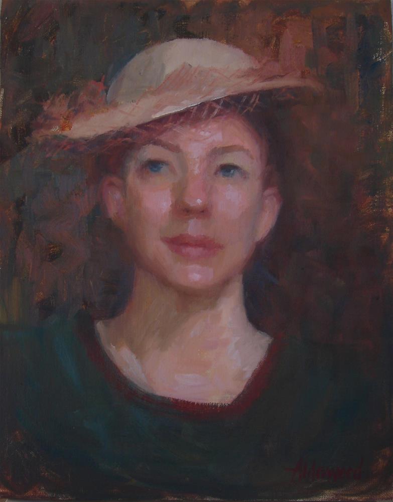 """Samantha in Vintage Hat"" original fine art by Sherri Aldawood"