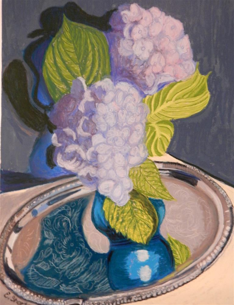 """Hydrangeas on a Silver Tray"" original fine art by Elaine Shortall"
