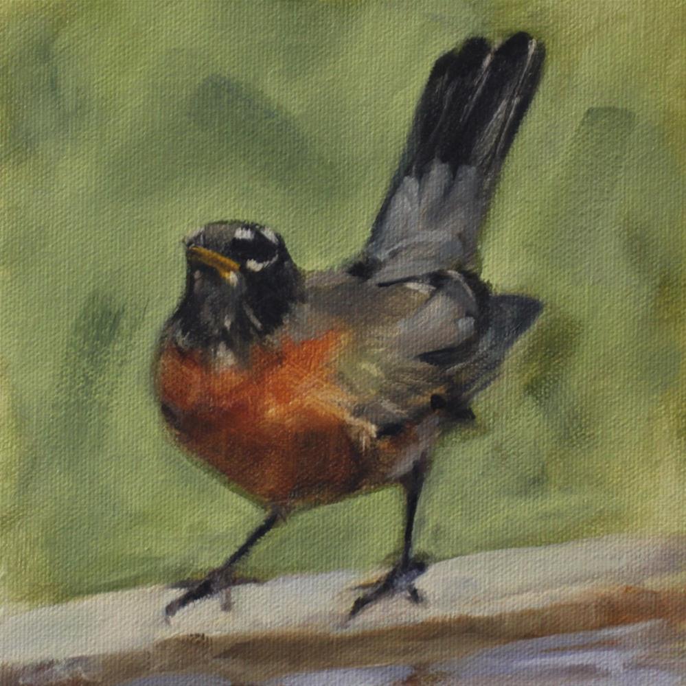 """Red, Red, Robin"" original fine art by Pamela Poll"