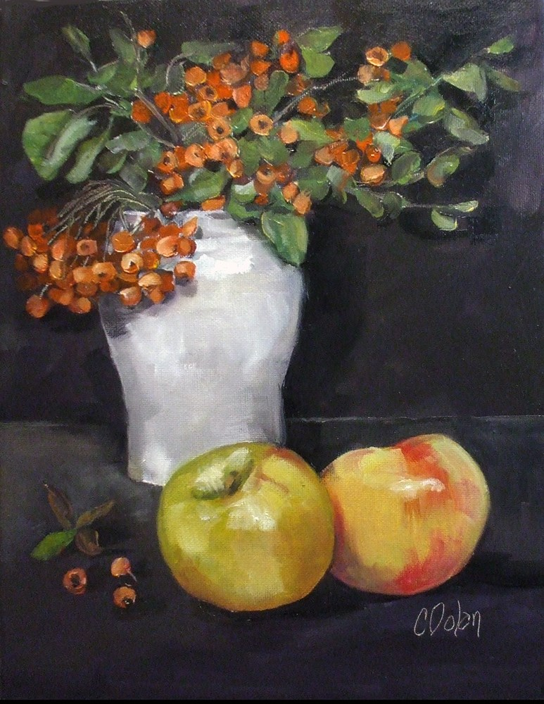 """Firethorn and Apples"" original fine art by Cheryl Williams Dolan"