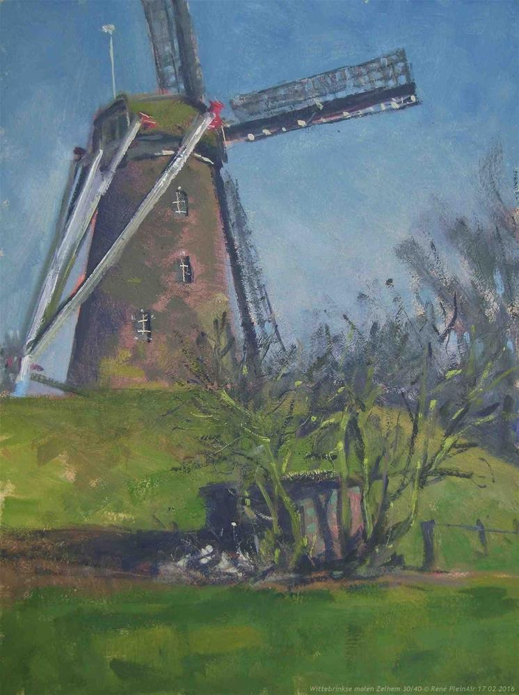 """Wittebrinkse molen. Zelhem, The Netherlands."" original fine art by René PleinAir"