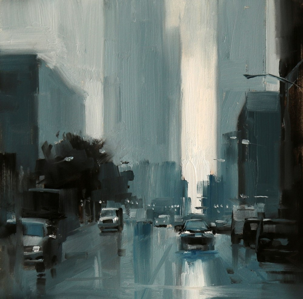 """Chicago in the rain"" original fine art by Qiang Huang"