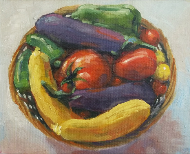 """Basket of Veggies"" original fine art by Deborah Newman"
