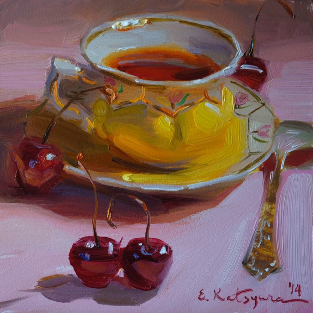 """Tea and Cherries"" original fine art by Elena Katsyura"