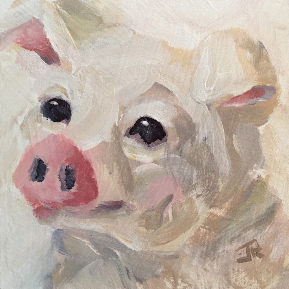 """This Little Piggy"" original fine art by June Rollins"