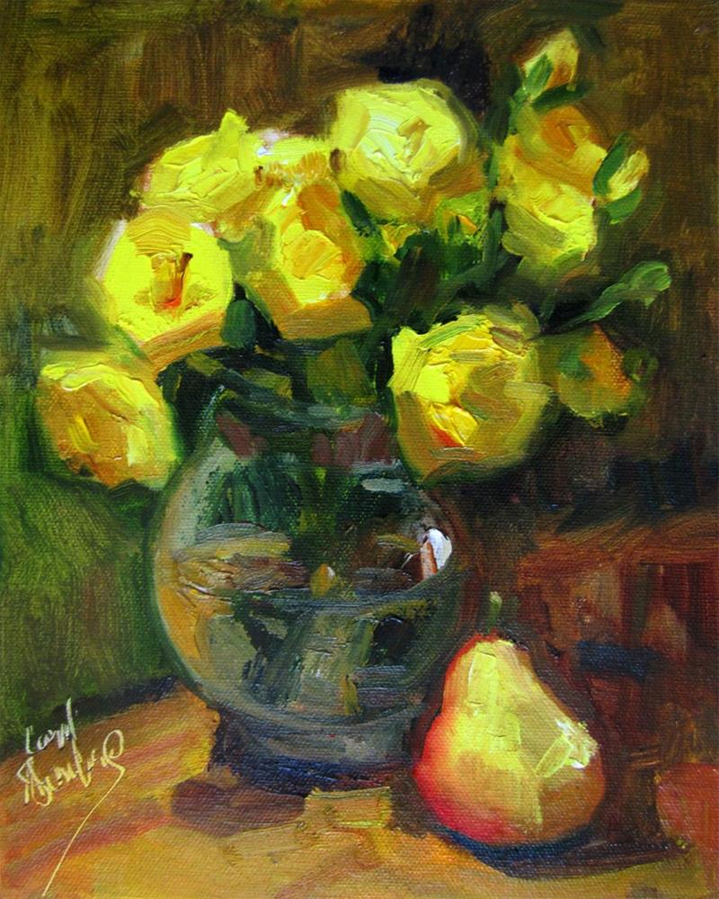 """Yellow Roses, Pear"" original fine art by Carol Steinberg"