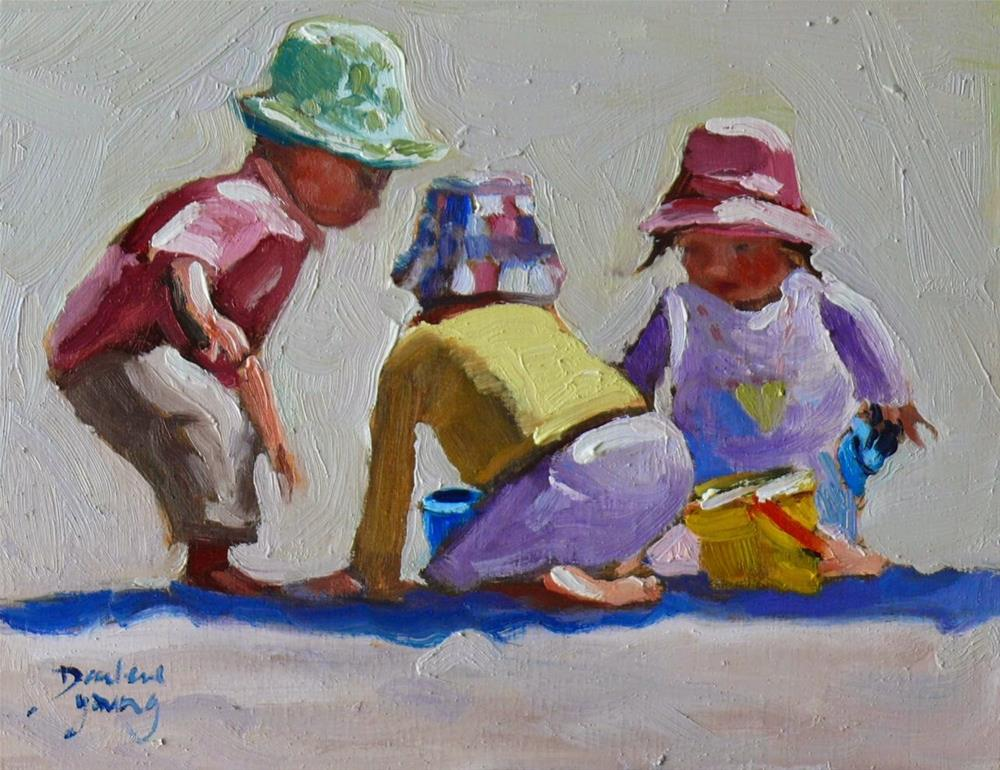 """752 Beach Kids"" original fine art by Darlene Young"