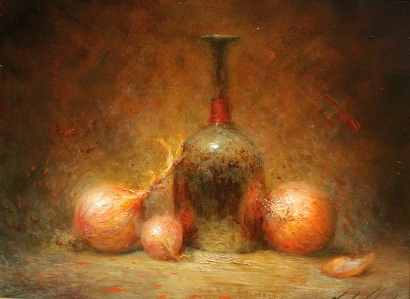 """""""Onions and Glass Bottle"""" original fine art by Justin Clements"""
