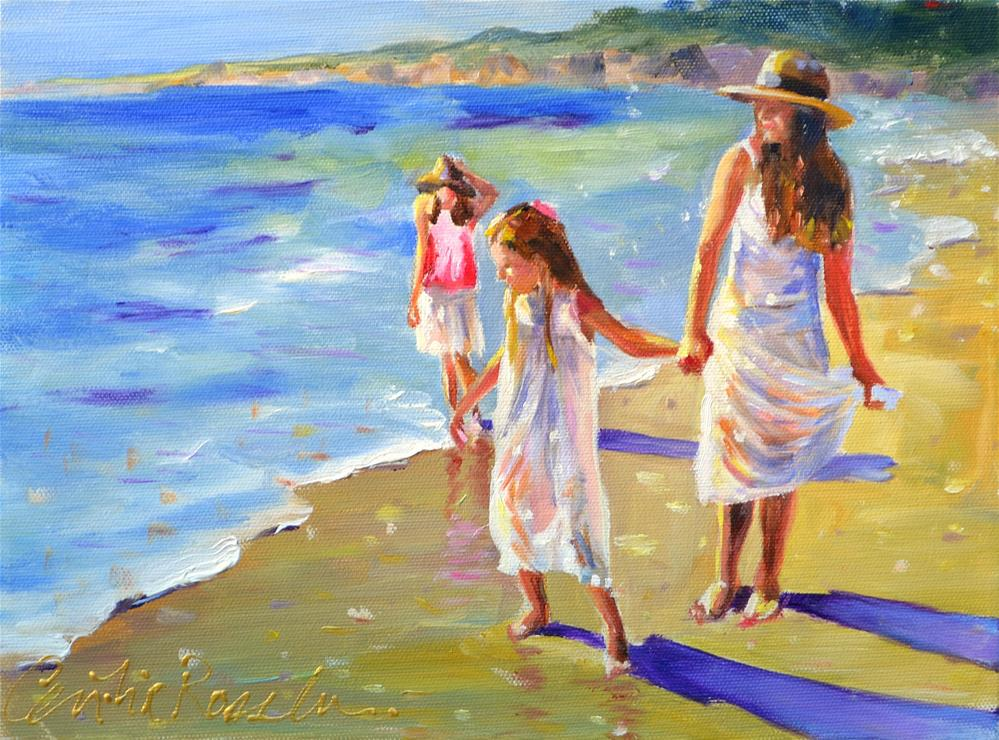 """KIDS ON BEACH"" original fine art by Cecilia Rosslee"