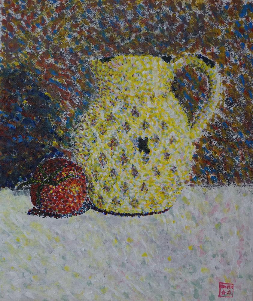 """Yellow jug and tomato"" original fine art by Gin Sen"