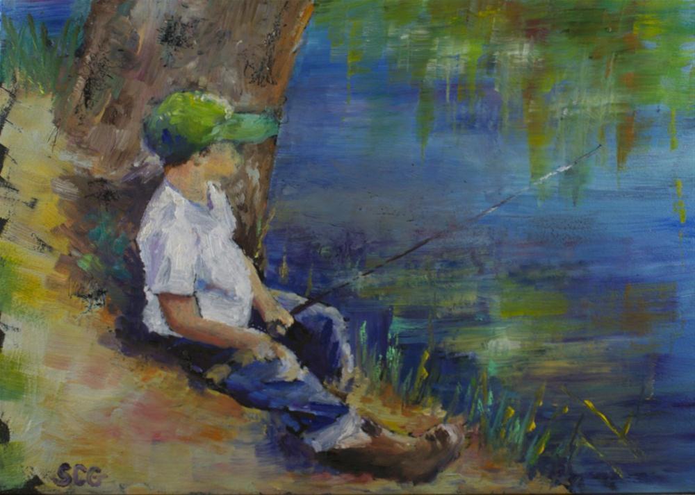 """""""Fishing Again"""" original fine art by Sue Churchgrant"""