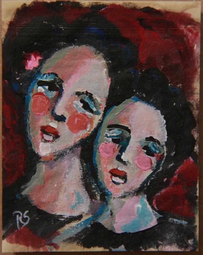 """Tea Bag Portrait - Big Sister"" original fine art by Roberta Schmidt"