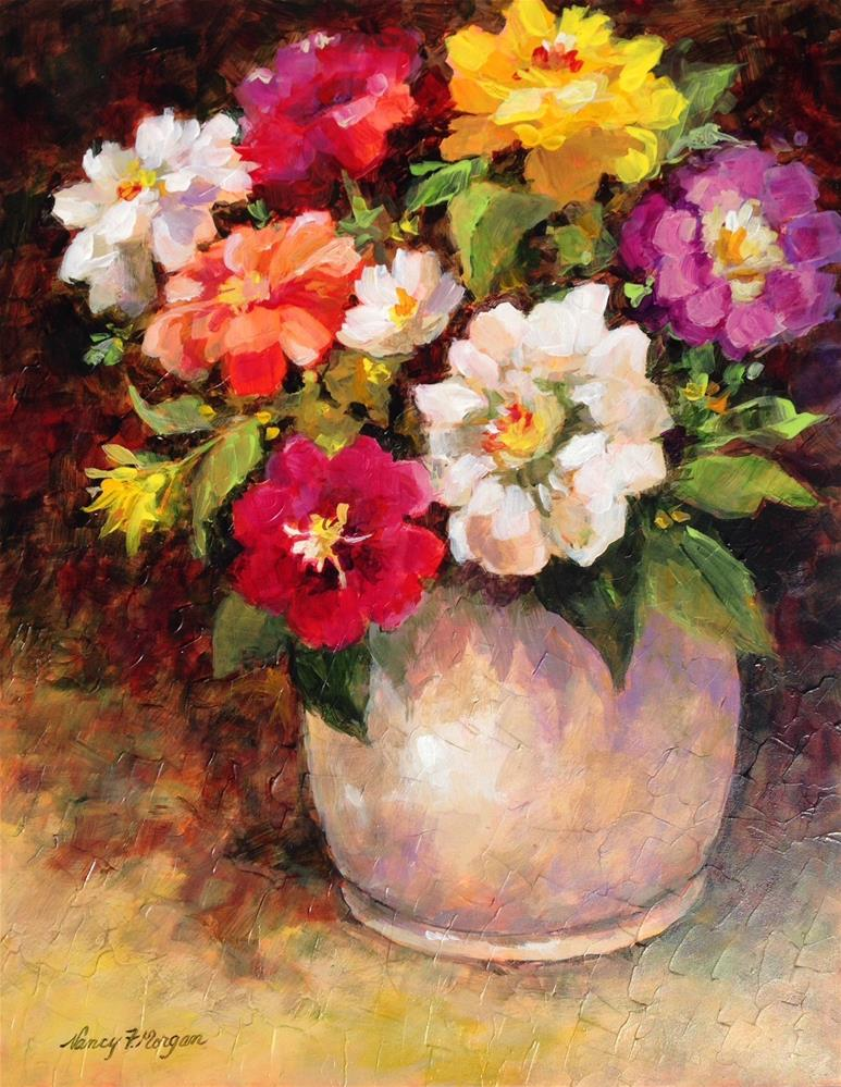 """Zinnias Before Sunrise"" original fine art by Nancy F. Morgan"