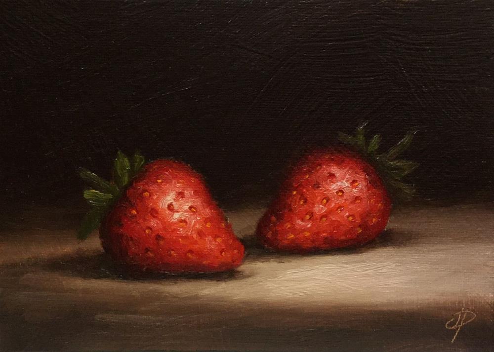 """Two Strawberries"" original fine art by Jane Palmer"