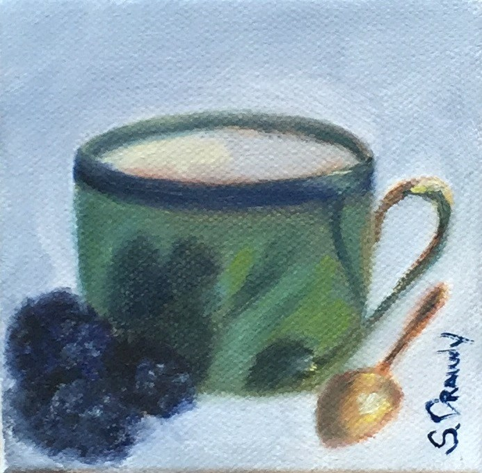 """Green Demitasse with Spoon & Berries"" original fine art by Stephanie Drawdy"
