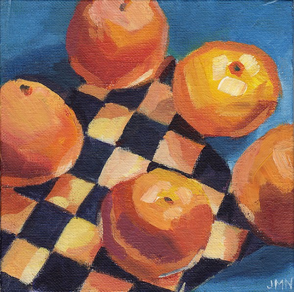 """Clementines: Diamonds"" original fine art by J M Needham"
