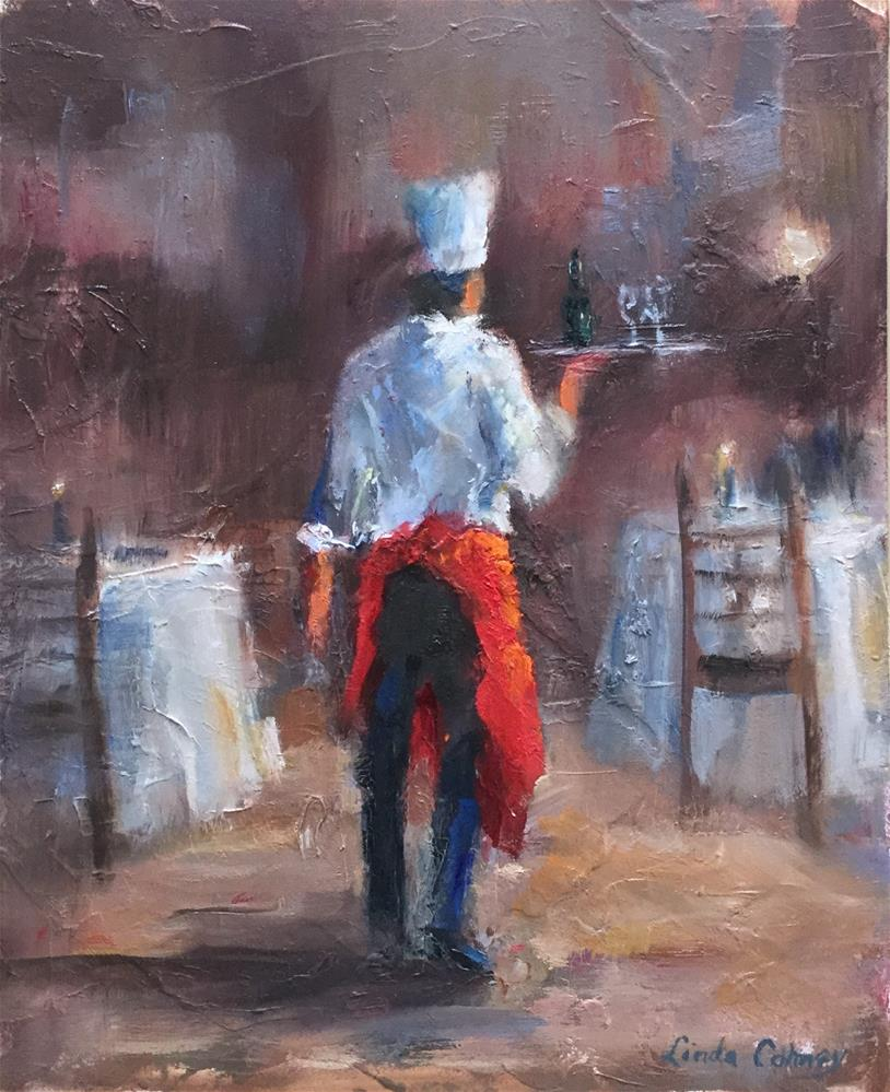 """The Red Apron"" original fine art by Linda Carney"