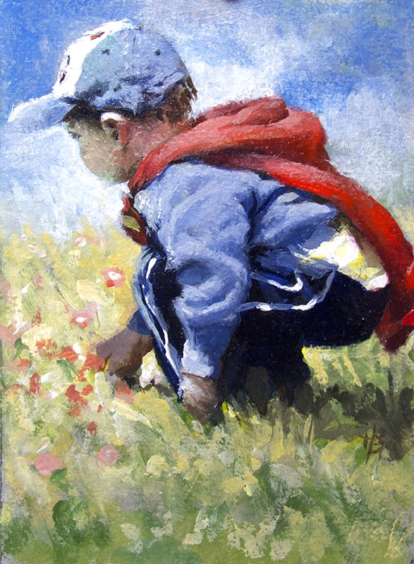 """boy in field"" original fine art by Harry Burman"