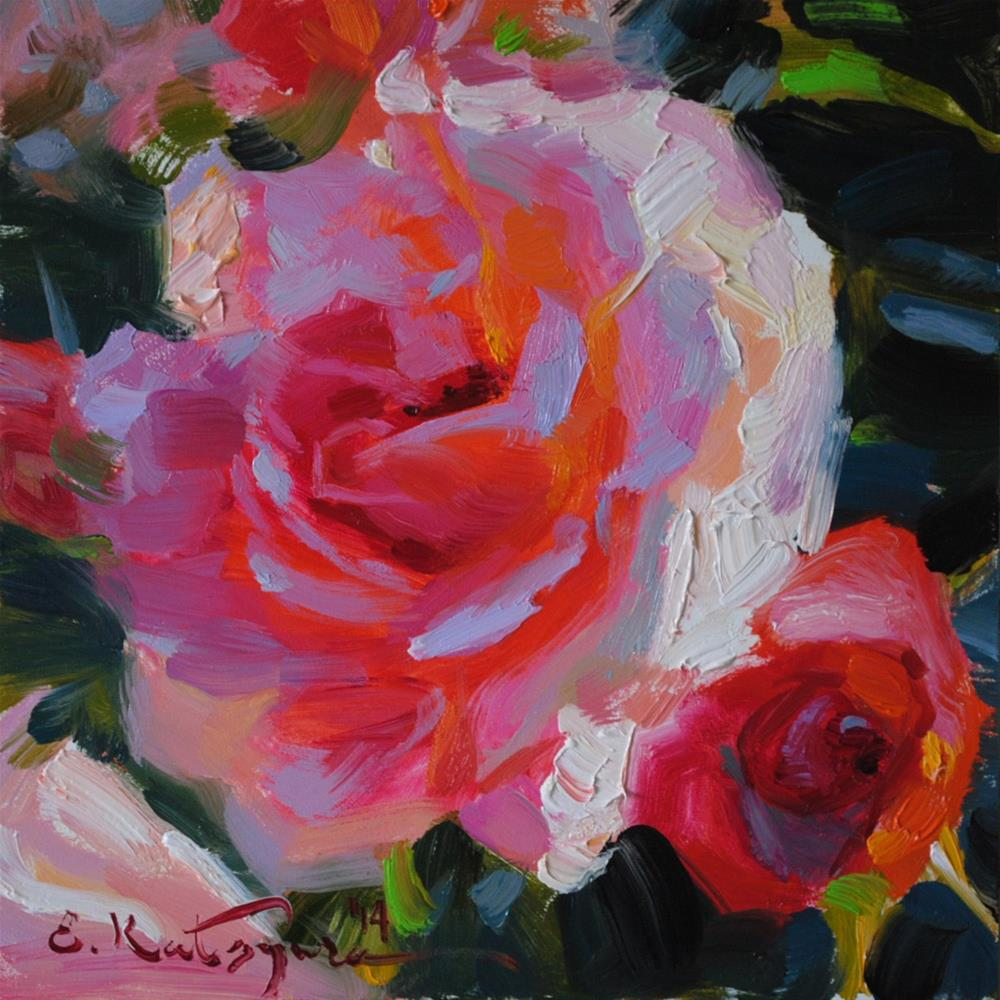 """August Roses"" original fine art by Elena Katsyura"