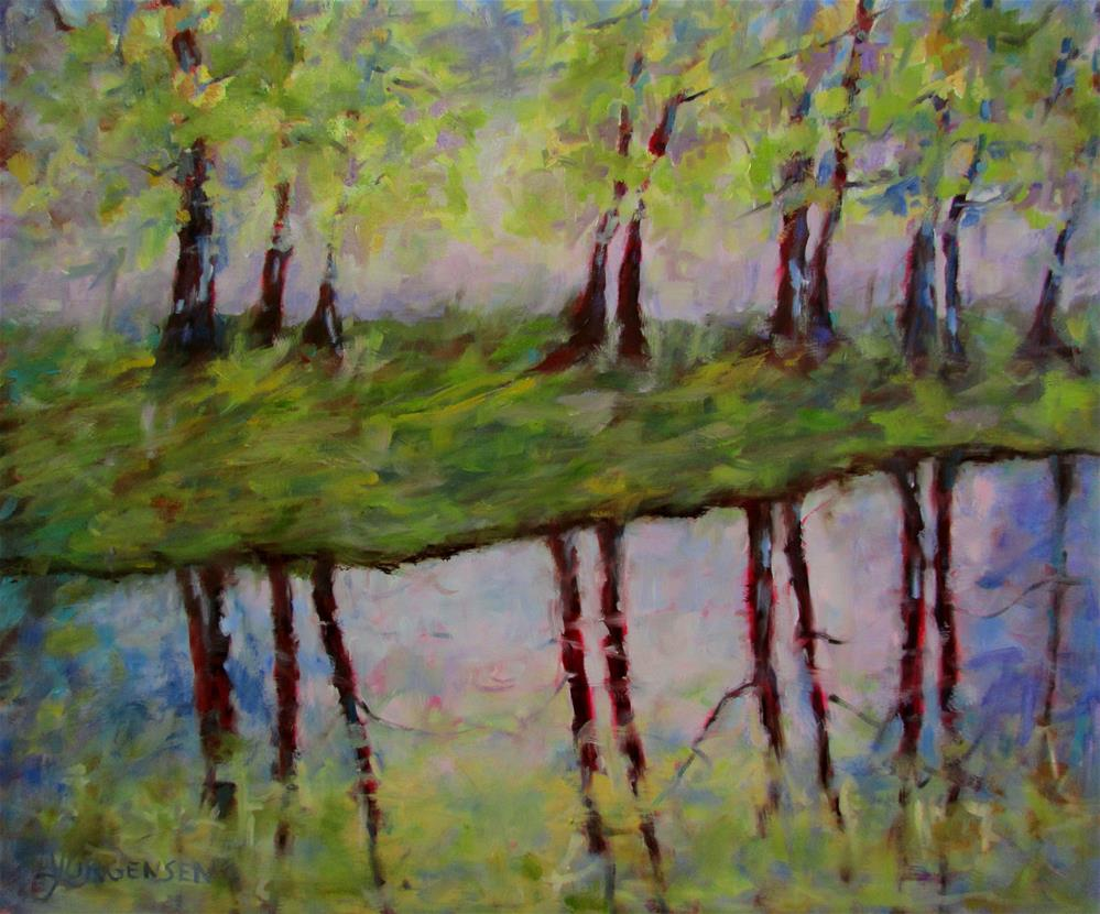"""20 x 24 inch oil Lazy Day at the River"" original fine art by Linda Yurgensen"