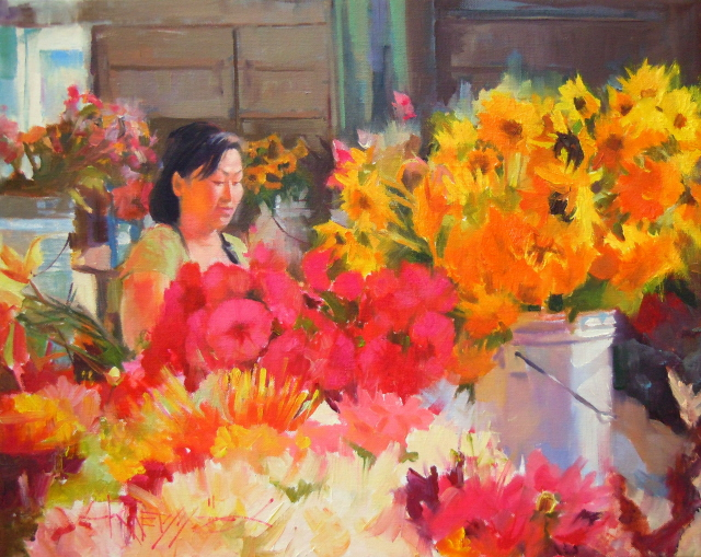 """""""The Flower Vendor 2011 figurative, floral , oil painting, Seattle city scenes."""" original fine art by Robin Weiss"""