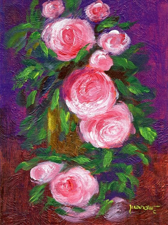 """ORIGINAL PAINTING OF ANTIQUE ROSES"" original fine art by Sue Furrow"
