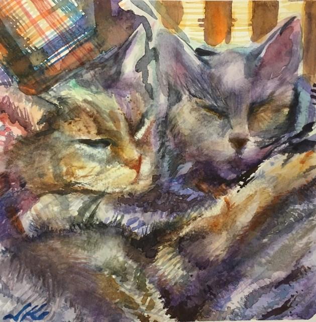 """Long Winter's Nap or Rachel's Cats"" original fine art by Jean Krueger"