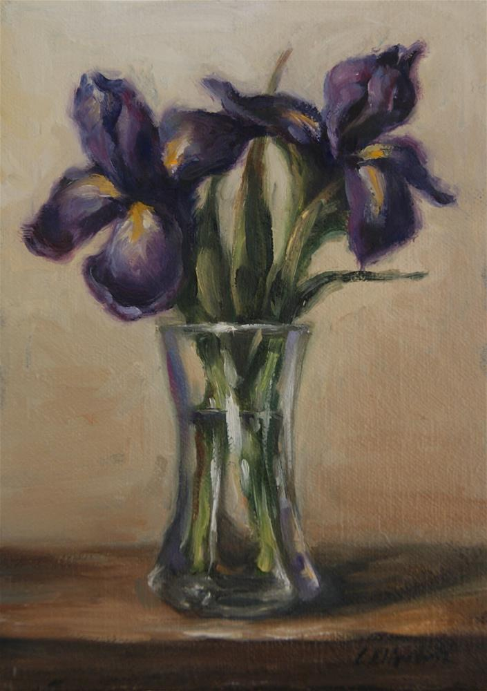 """Still Life with Irises in Glass Vase,  Oil on 5x7 Linen Panel"" original fine art by Carolina Elizabeth"