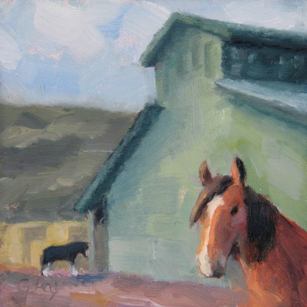 """Giant Horse Barn"" original fine art by Naomi Gray"