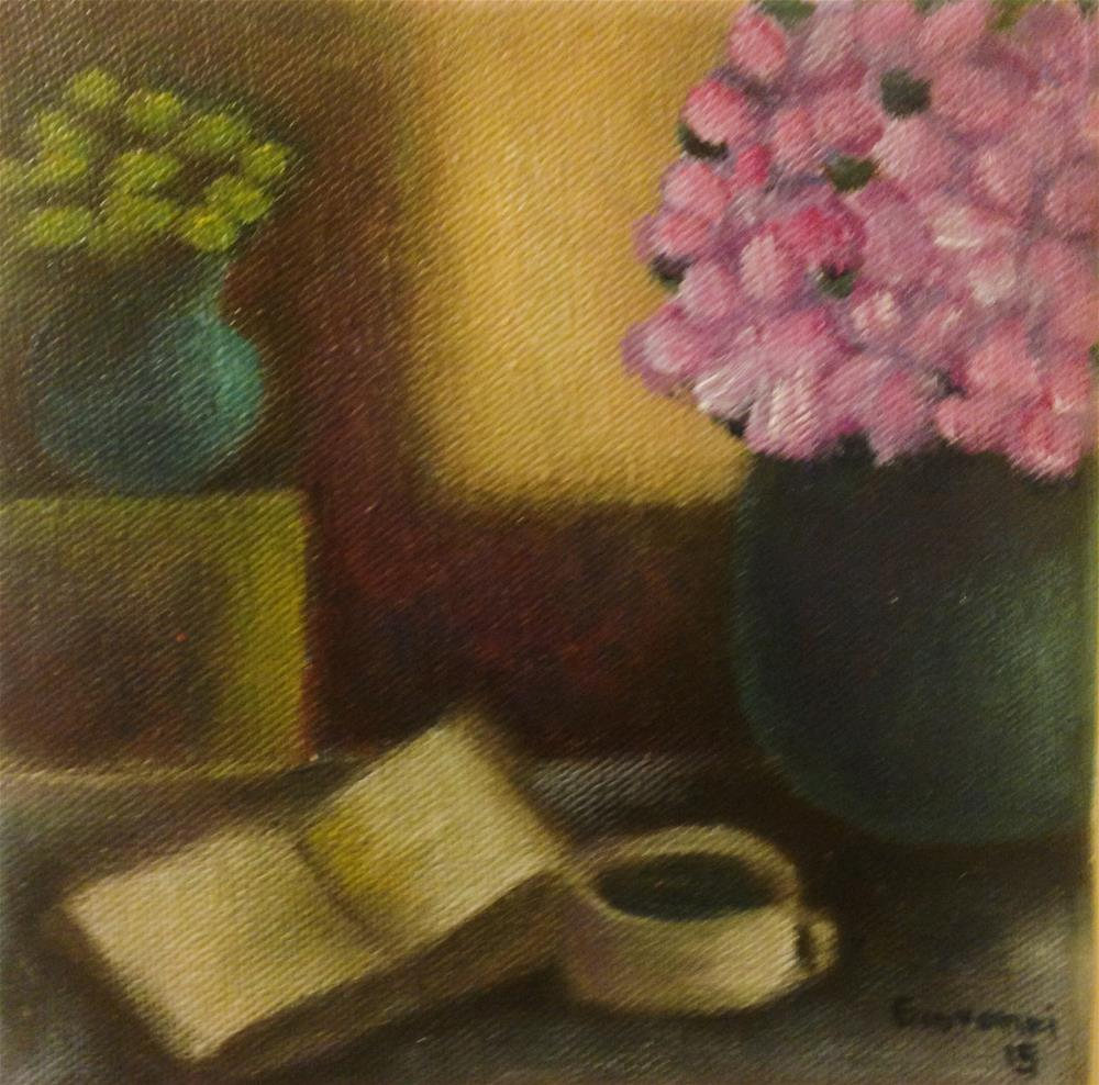 """Flowers, coffee and book"" original fine art by Giovanni Antunez"