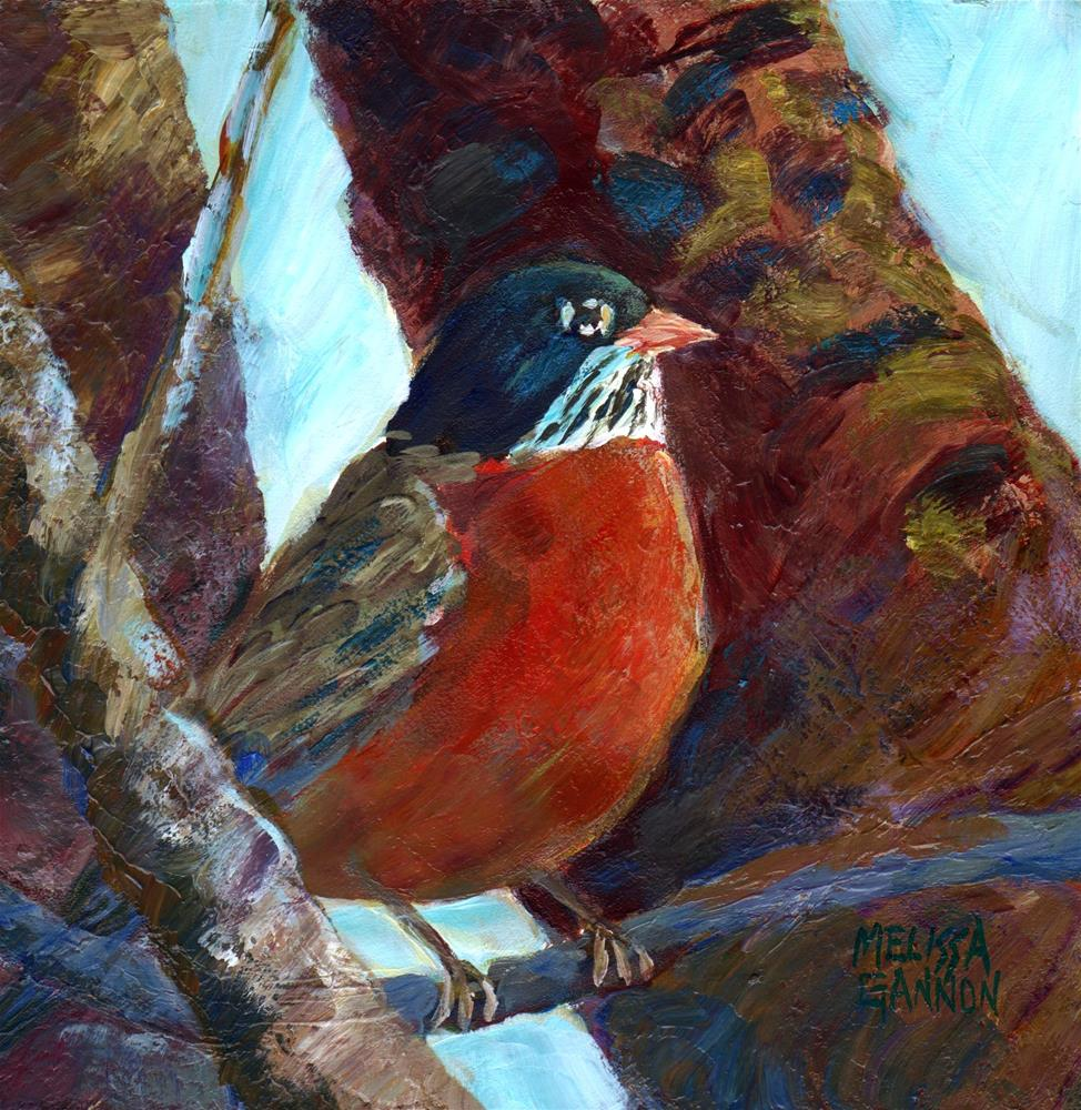 """Robin in the Tree"" original fine art by Melissa Gannon"