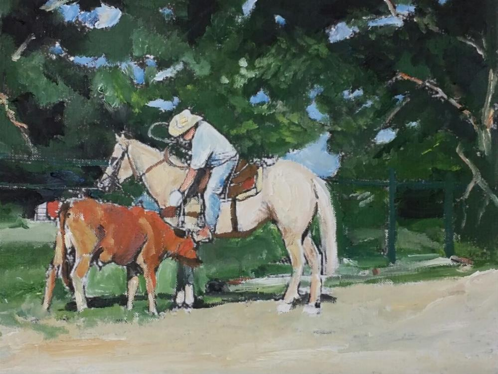 """Taking Care of The Cow (8.5 x 10.5 Oil on canvas sheet - no frame)"" original fine art by Ramon DelRosario"
