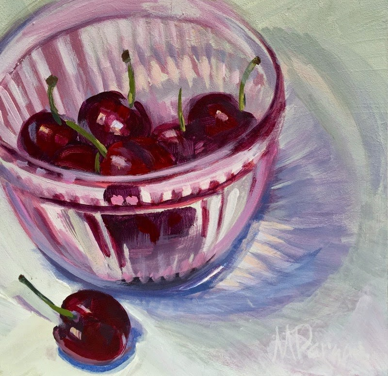 """Sweet Cherries"" original fine art by Mary Pargas"