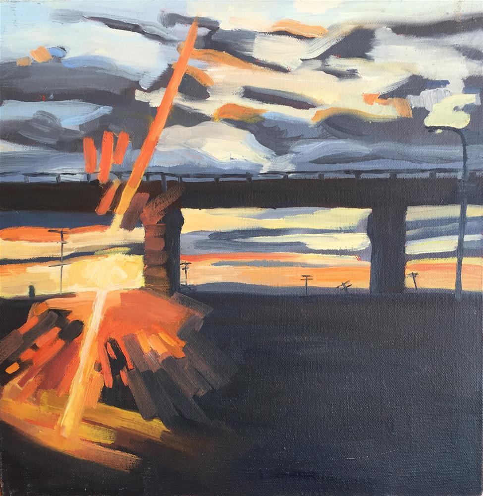 """""""Highway Sunset"""" original fine art by Jessie Dodington"""