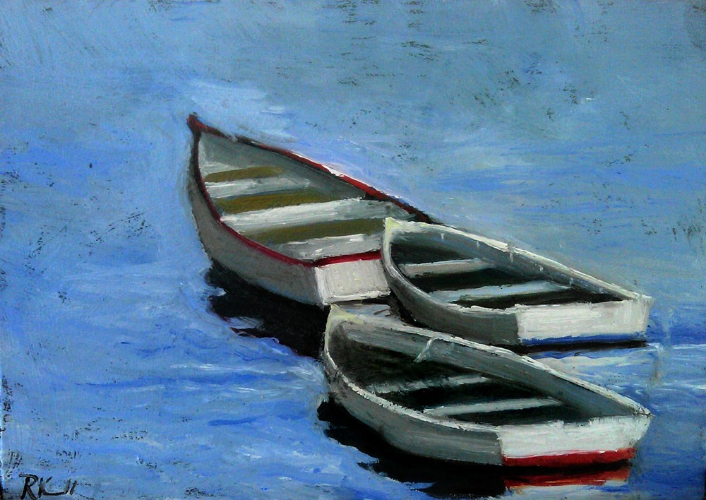 """Three Small Boats"" original fine art by Bob Kimball"