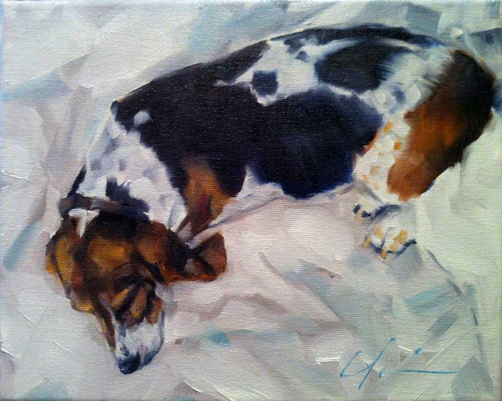 """The Daily Dog - Five"" original fine art by Clair Hartmann"
