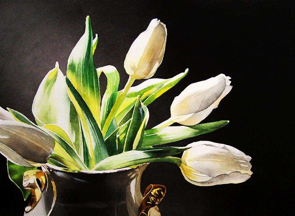 """White Tulips"" original fine art by Jacqueline Gnott, whs"