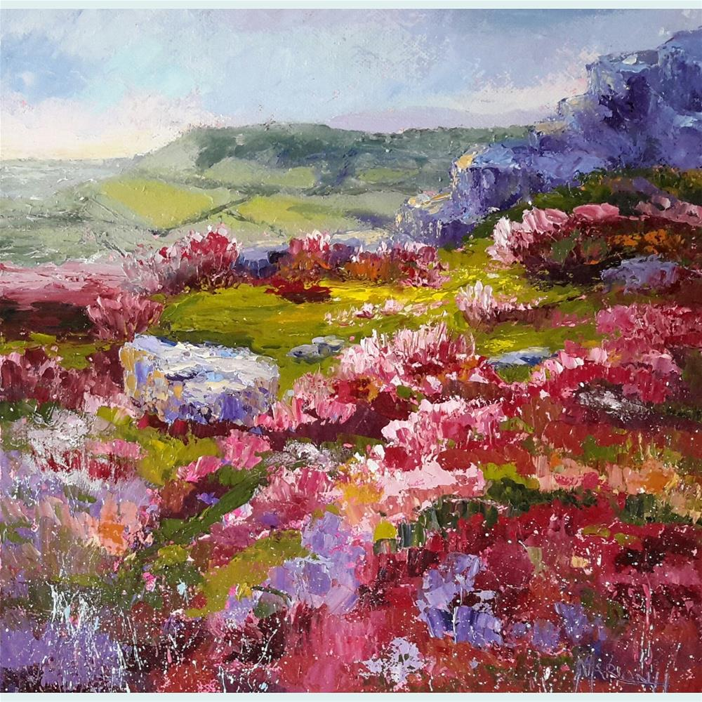"""Heather Moors, Curbar Edge"" original fine art by Marion Hedger"