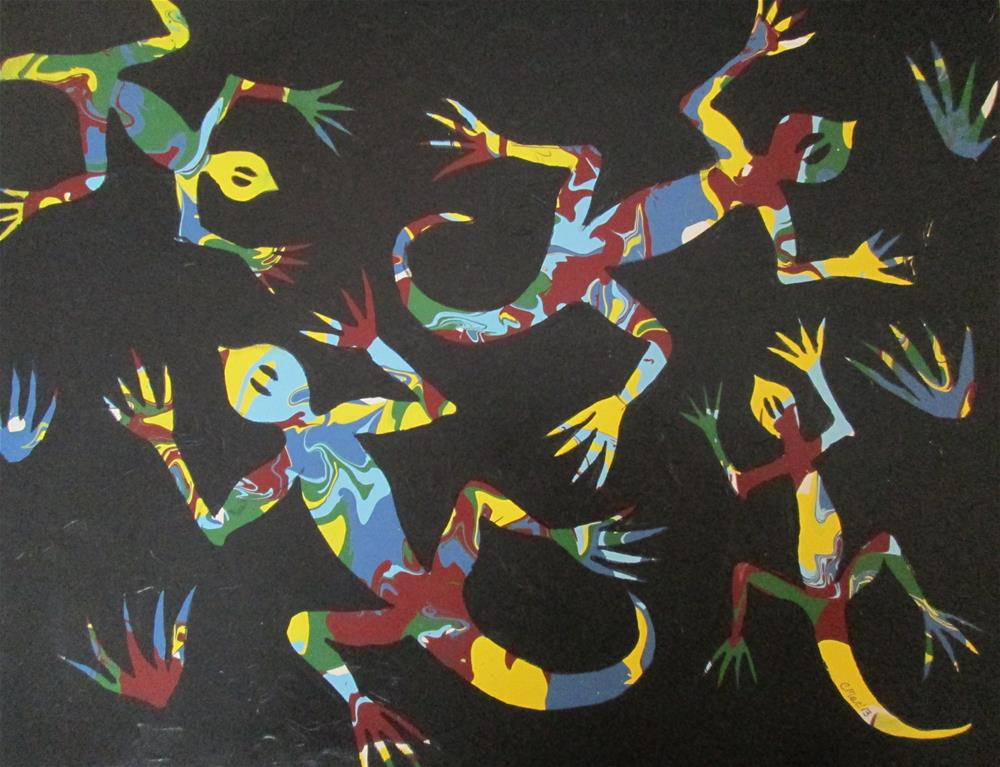 """""""Playful Lizards"""" original fine art by Chris MacCormack"""